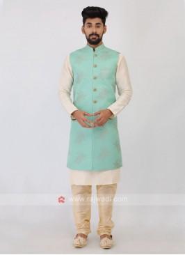 Mens Sea Green Nehru Jacket Suit