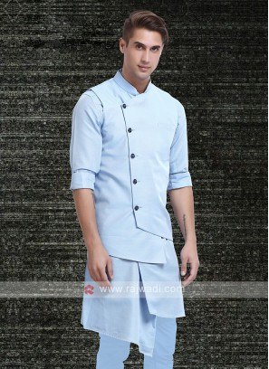 Mens Sky Blue Colour Koti Set