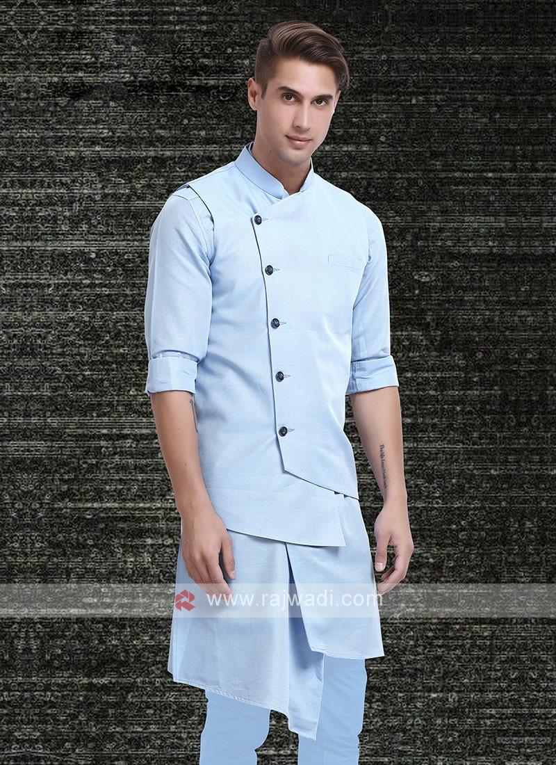 Mens Sky Blue Colour Koti Set