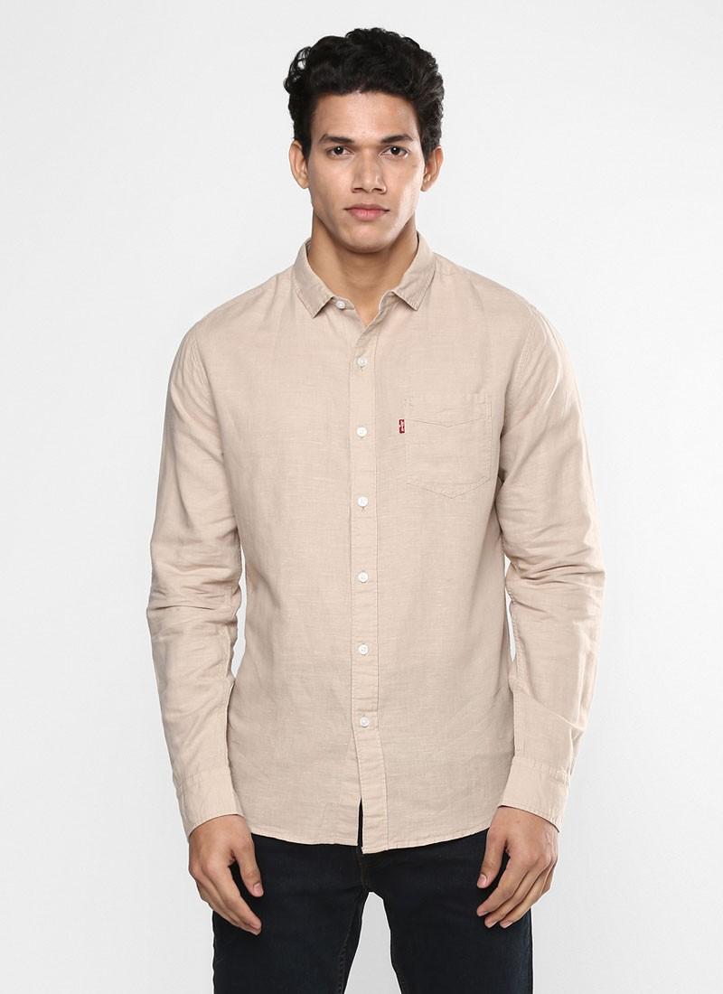 Levi's Mens Solid Cream Color Shirt