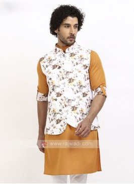 Mens White And Yellow Koti Set