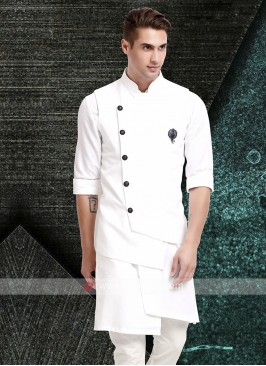 Mens White Colour Nehru Jacket Suit