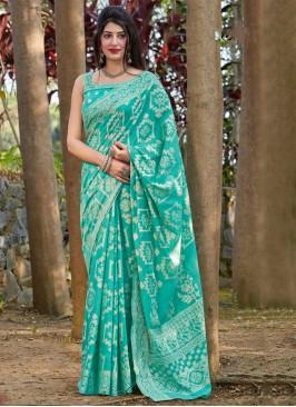 Mesmeric Sea Green Printed Traditional Saree