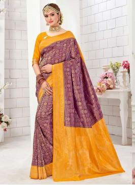 Mesmerizing Dark Purple And Yellow Color Banarasi Silk Saree
