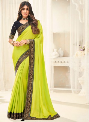 Mesmerizing Embroidered Silk Green Traditional Saree