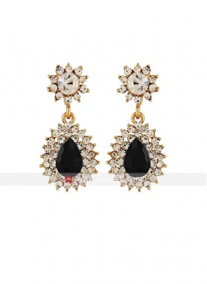 Metal Black Crystal Dangler Earrings