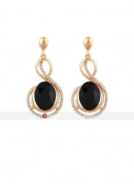 Metal Black Crystal Earrings