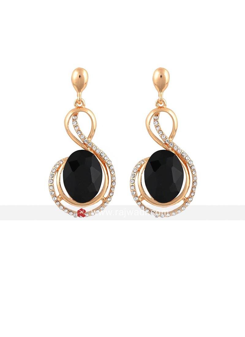Metal Black Crystal Earrings