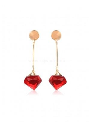 Metal Crystal Red Drop Earrings