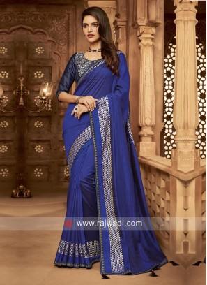 Midnight Blue Art Silk Wedding saree