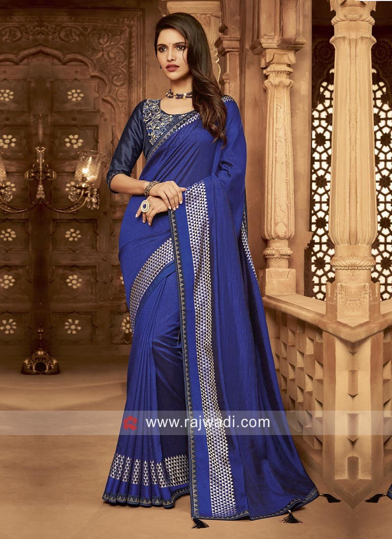 Midnight Blue Art Silk Wedding saree