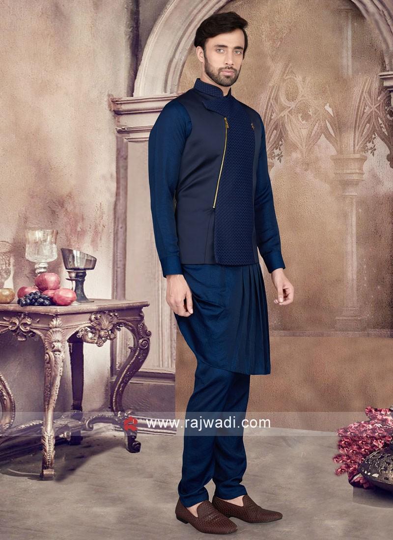 Midnight Blue Color Nehru Jacket Set