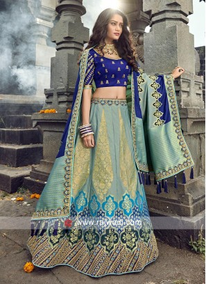 Light teal and blue lehenga choli