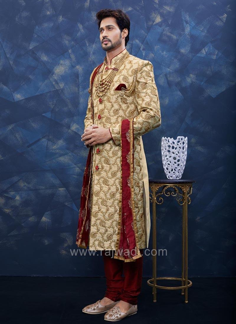 Miraculous golden color art silk Sherwani