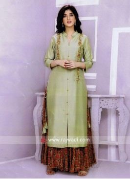 Mirror and Stone Work Kurti with Palazzo