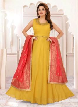 Mirror Work Anarkali Suit In Yellow Color