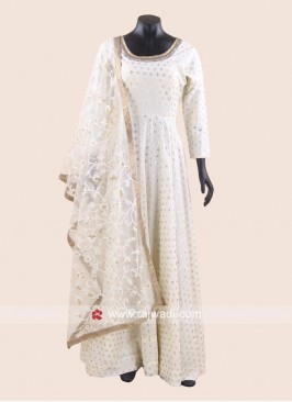 Mirror Work Floor Length Anarkali Suit