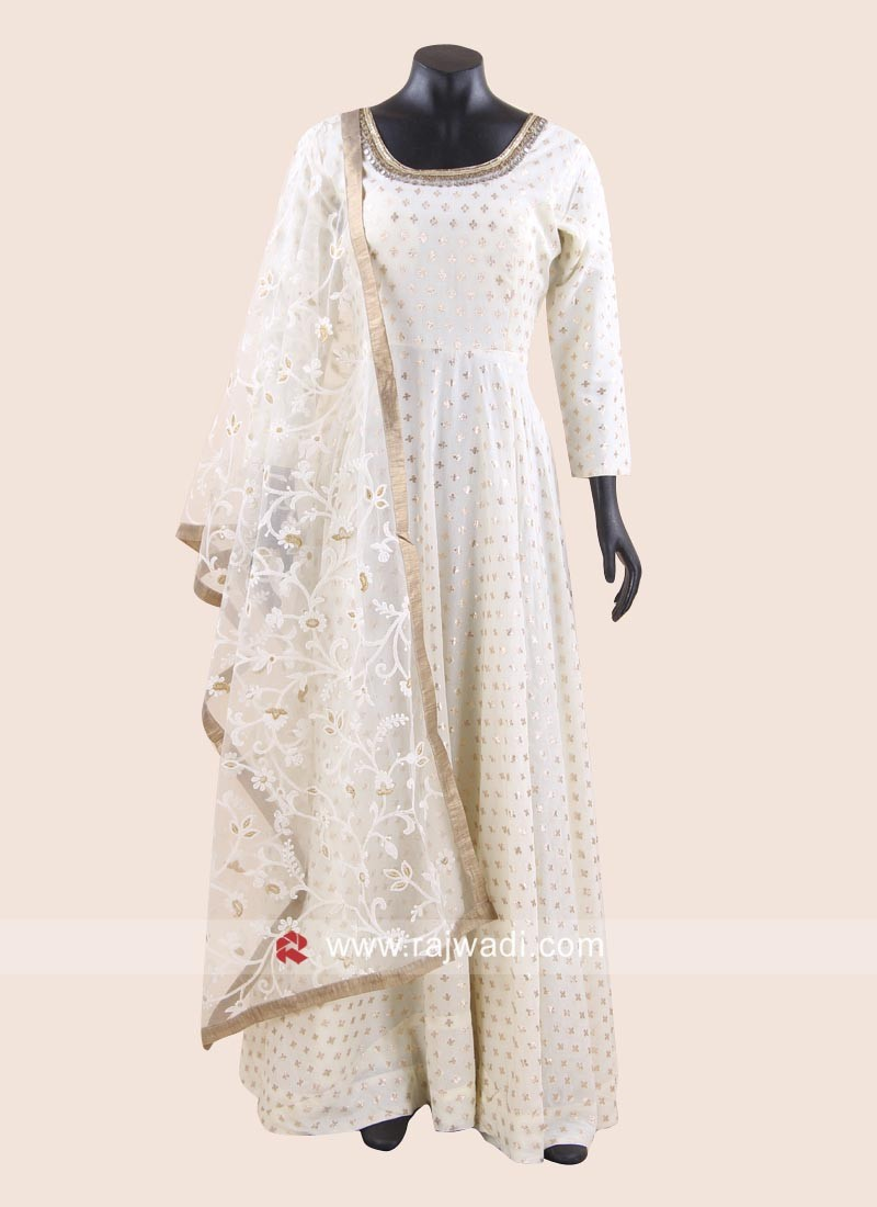 Mirror Work Floor Length Anarkali Suit for Eid