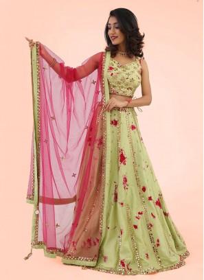 Mirror Work Raw Silk Choli Suit
