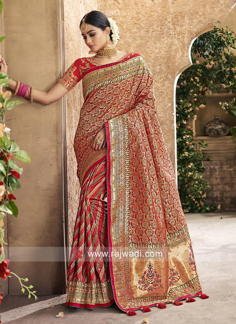 Mirror Work Wedding Saree