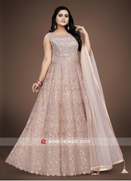 Misty Rose color Net Anarkali Suit