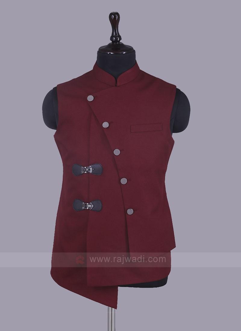 Mix Blend Maroon Nehru Jacket