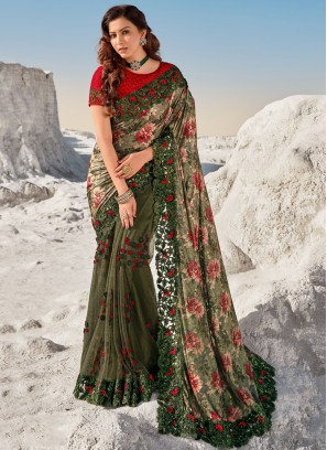 Modern Embroidered Green Bollywood Saree