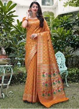 Modernistic Mustard Weaving Traditional Saree