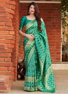 Modernistic Weaving Green Designer Saree