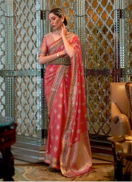 Modest Pink Weaving Designer Saree