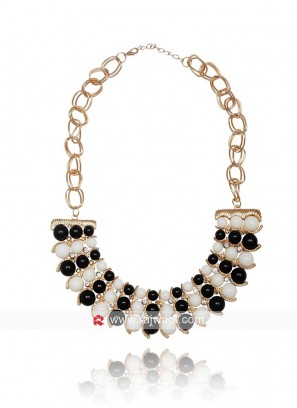 Monochrome Faux Pearl Statement Necklace