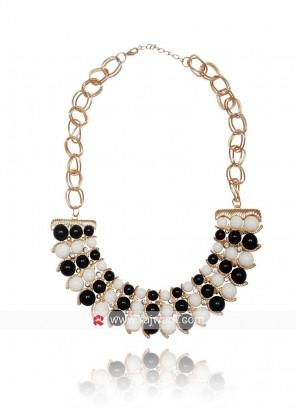 Monochrome Faux Pearl Statement Necklace