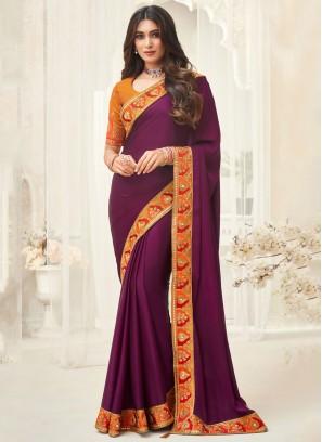 Monumental Embroidered Purple Silk Contemporary Saree