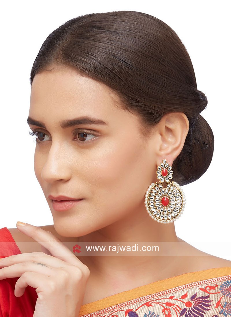 Moti Work Earing Set For Occasion