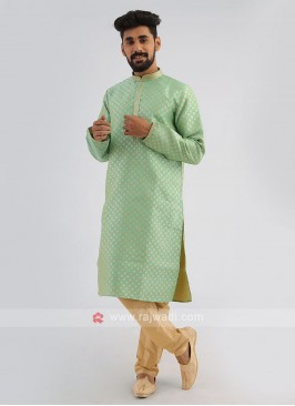 Motif Featured Pista Green Kurta With Golden Pajama