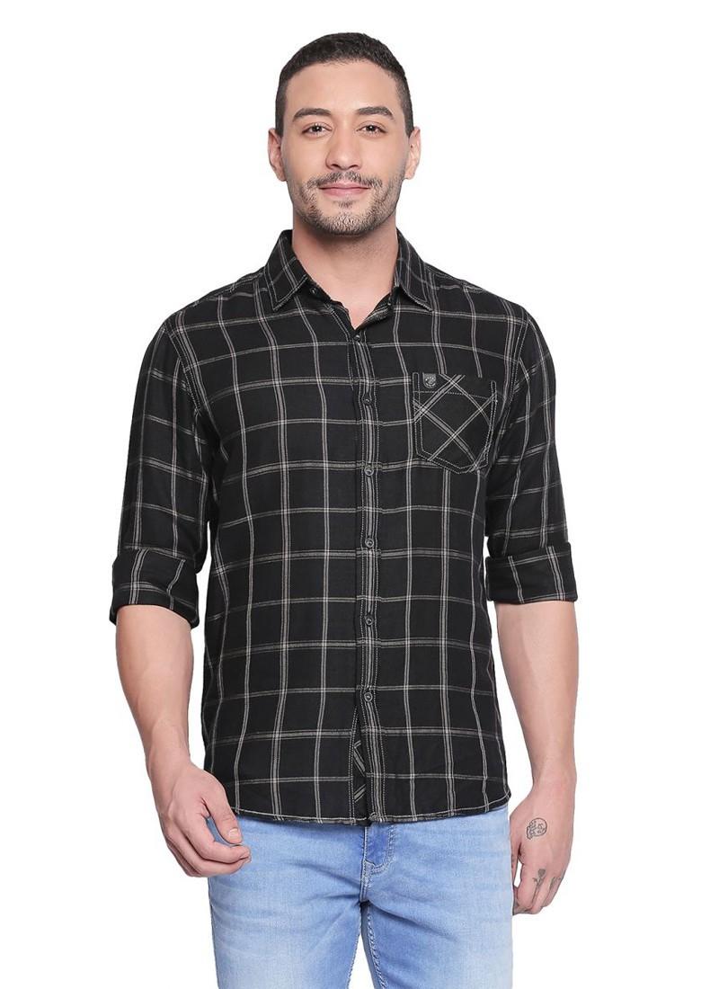 Mufti Black Full Sleeves Checkered Shirt