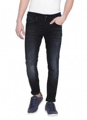 Mufti Blue-Black Skinny Fashion Jeans Jeans