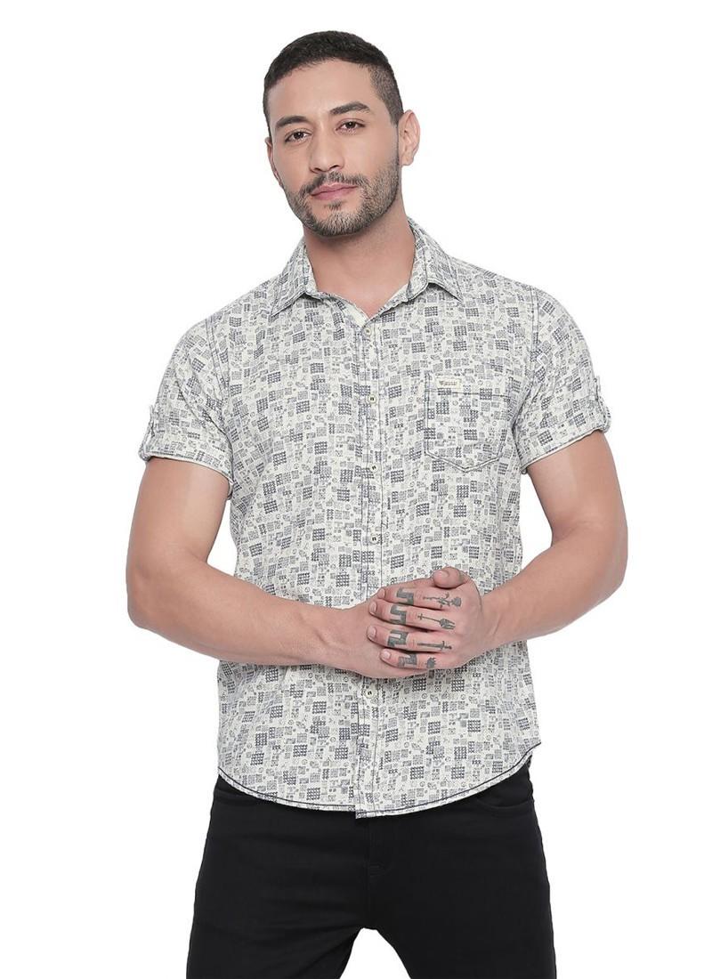 Mufti Ecru Half sleeves Ethno Printed Shirt