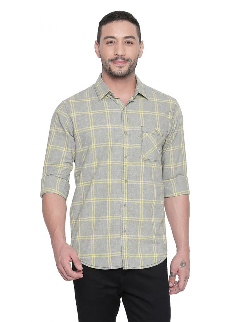Mufti Grey-Lime Full sleeves Checkered Shirt