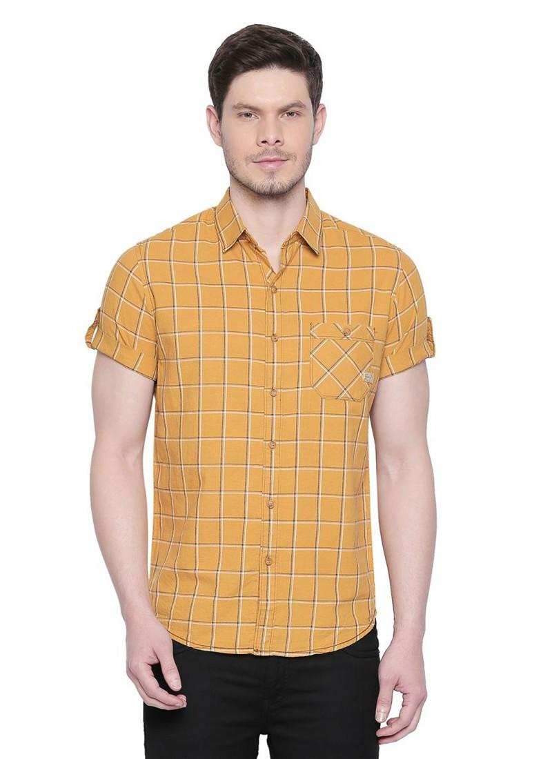 Mufti Mustard Checkered Half Sleeves Shirt