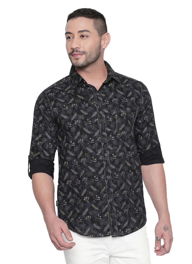 Mufti Navy Full Sleeves Floral Printed Shirt