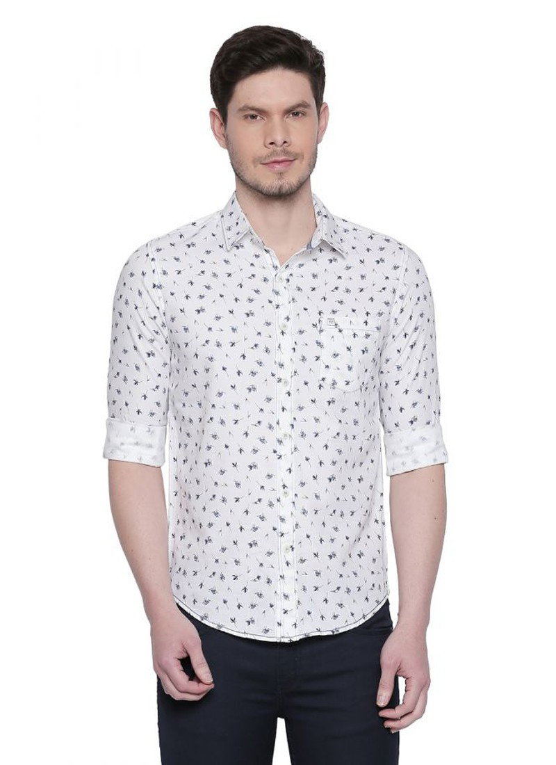 Mufti White Floral Printed Full Sleeves Shirt