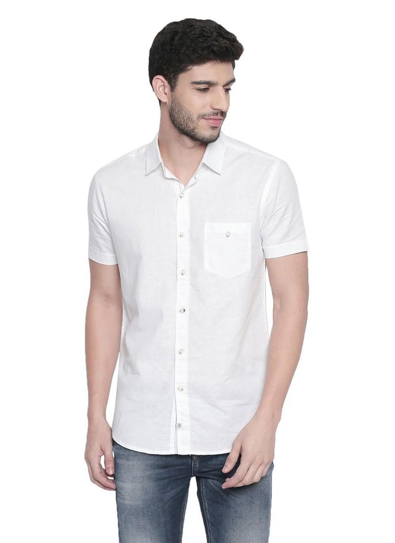 Mufti White-Khaki Solid Half Sleeves Cotton Linen Shirt