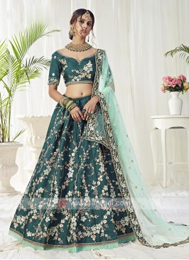 Mulberry Silk Lehenga Choli In Dark Green