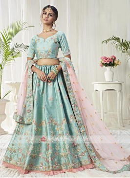 Mulberry Silk Blue Lehenga Choli