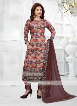 Multi And Brown Color Pant Style Suit