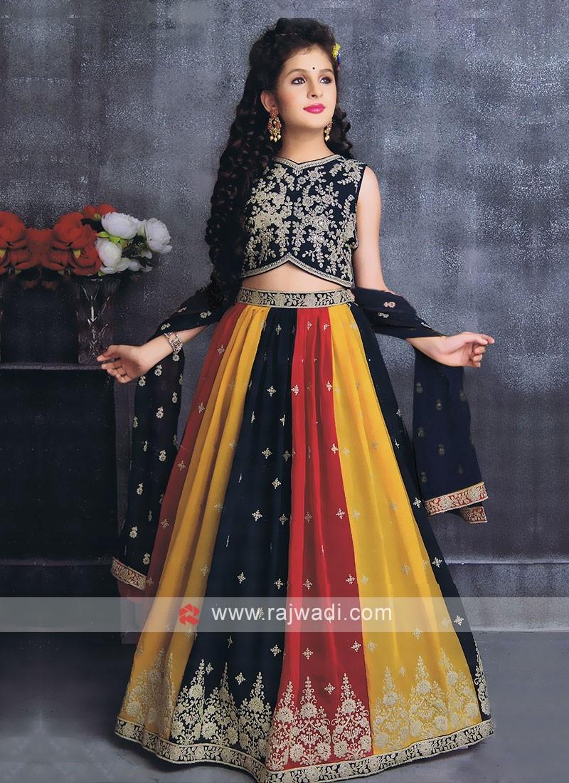 Multi Color And Rama Choli Suit