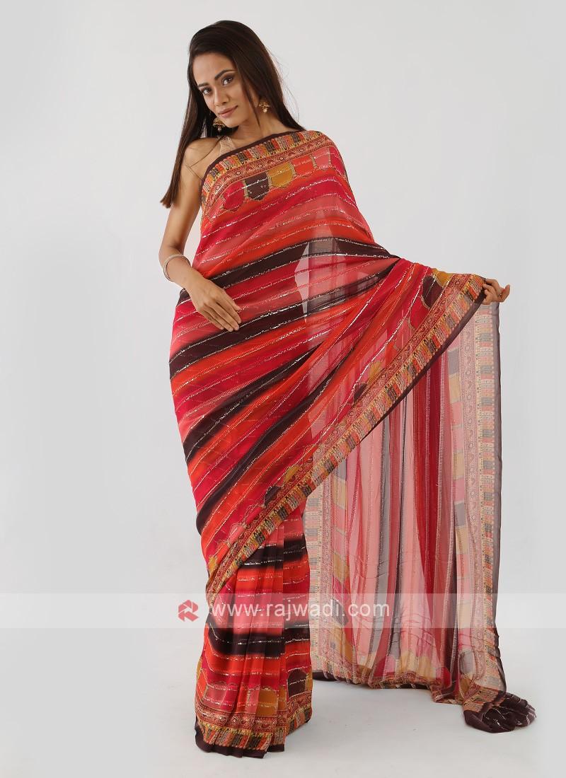 Multi Color Chiffon Saree