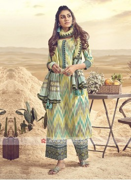 Shagufta Multi Color Cotton Palazzo Salwar Suit