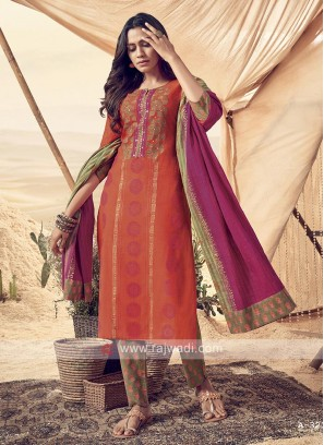 Shagufta Multi Color Cotton Pant Salwar Suit